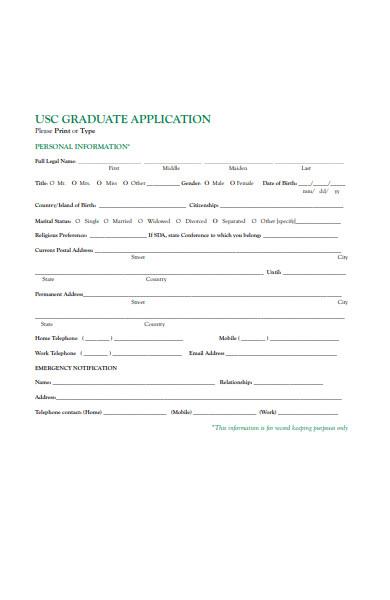 graduate personal information form