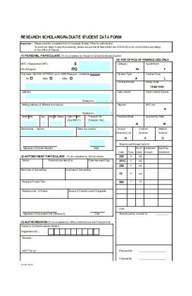 graduate student data form