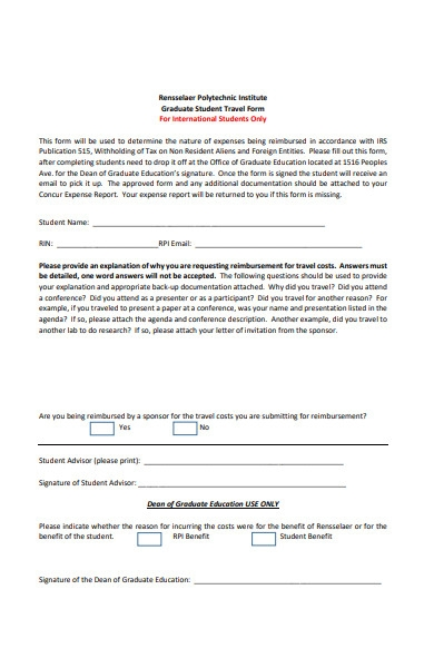 graduate student travel form
