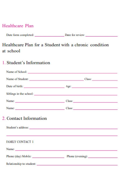 health care plan form