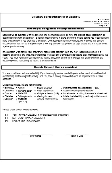 identification disability form