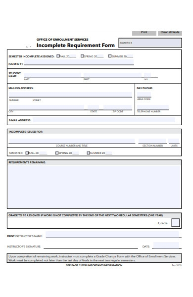 incomplete requirement form
