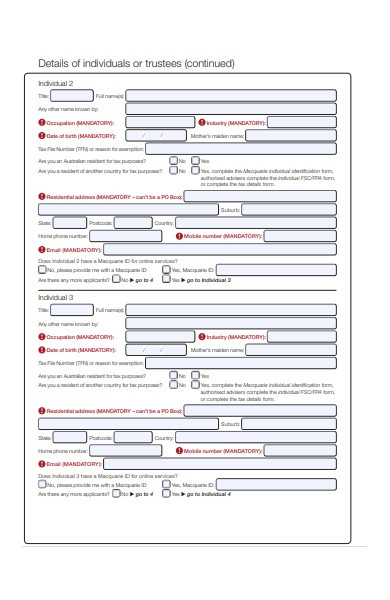individual deposit form