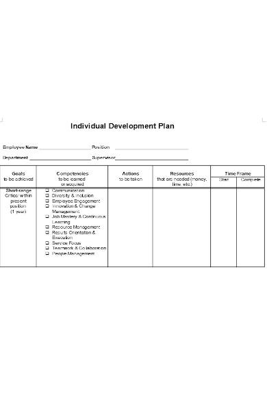 individual plan development form
