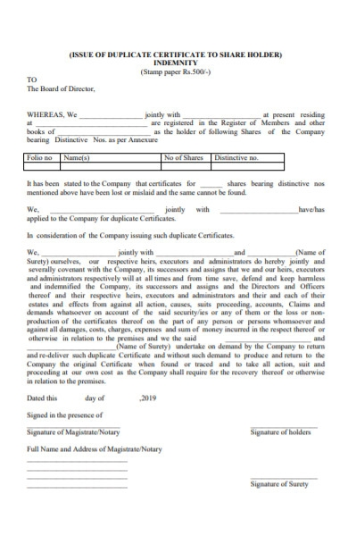 issue of duplicate certificate form