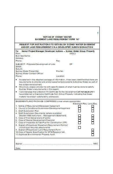 land requirement form