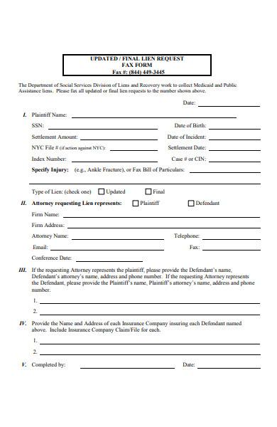 lien request forms
