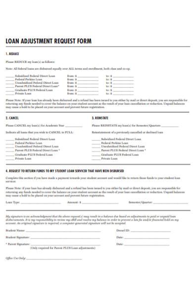 loan adjustment request form