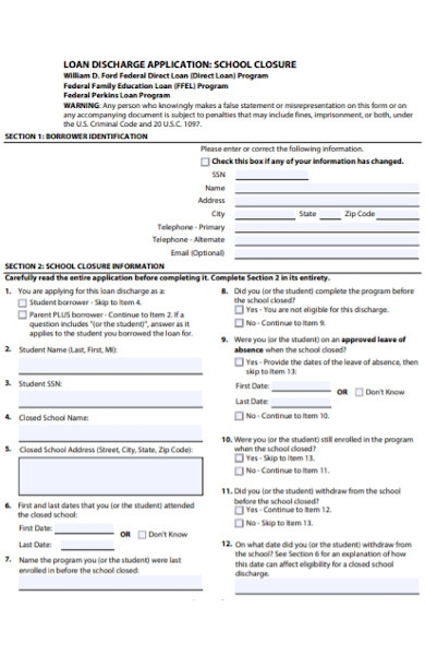 loan discharge application forms