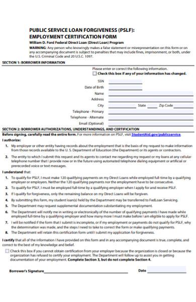 loan forgiveness employee certification form
