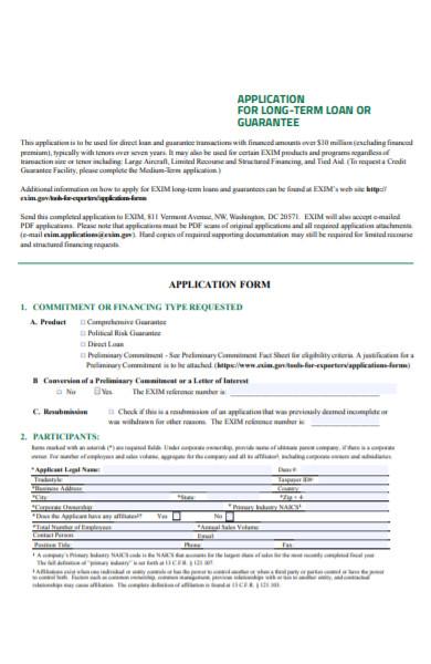 long term loan form