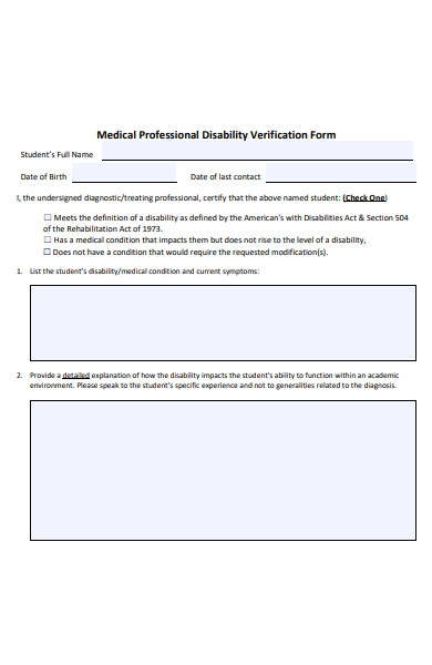 medical disability form