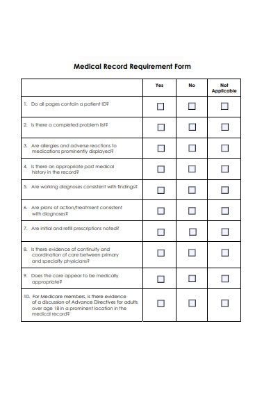 medical record requirement form