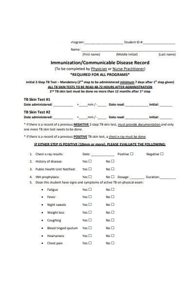 medical requirement form
