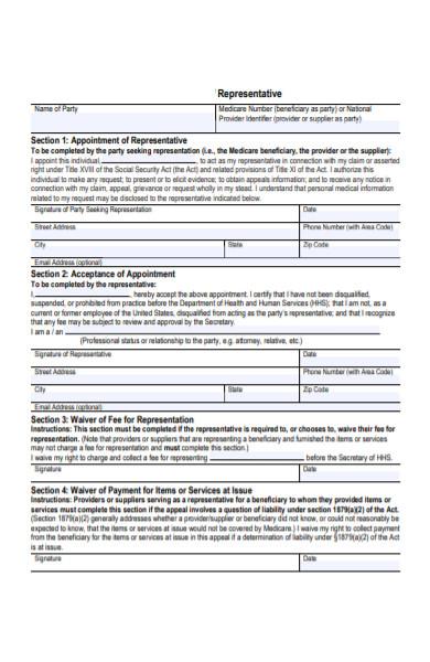 medicare representative form