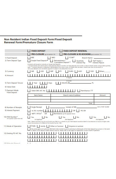 non resident fixed deposit form