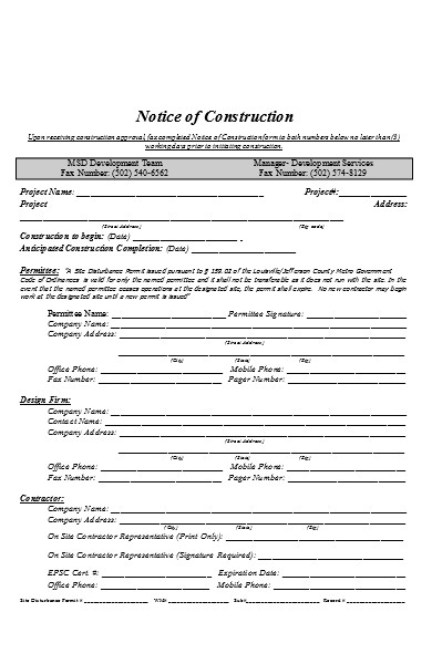 notice of construction form