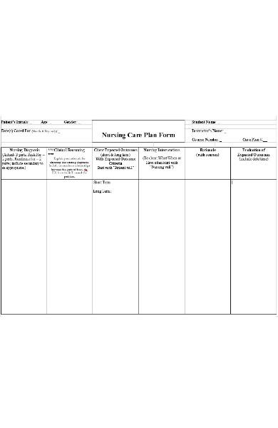 nursing care plan form