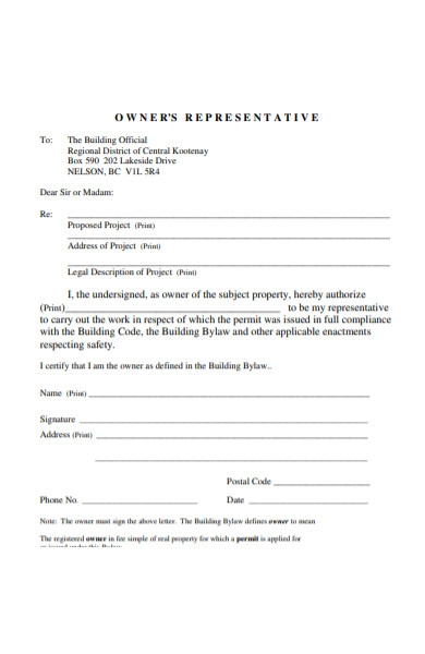 owners representative form