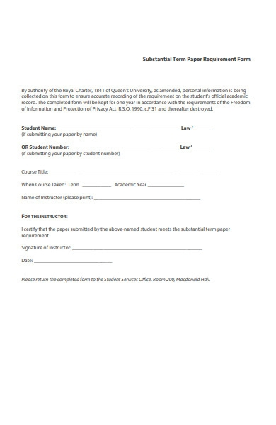 paper requirement form