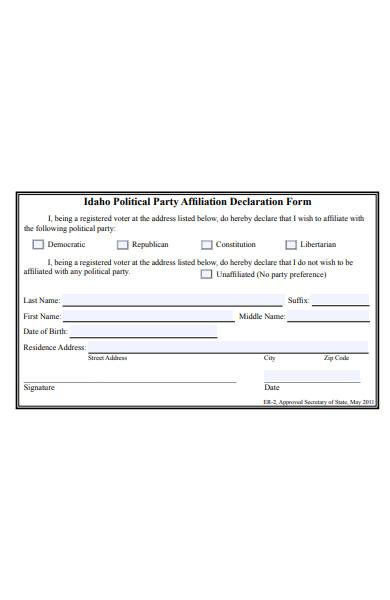 party affiliation declaration form
