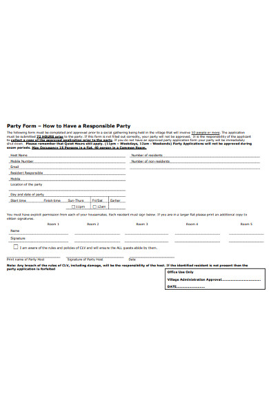 party application form