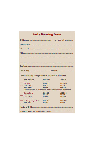 party booking form