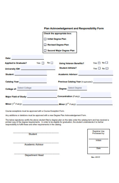 plan acknowledgement and responsibility form