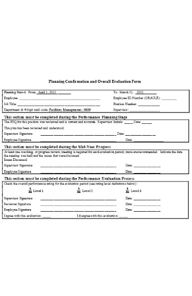 planning and overall evaluation form