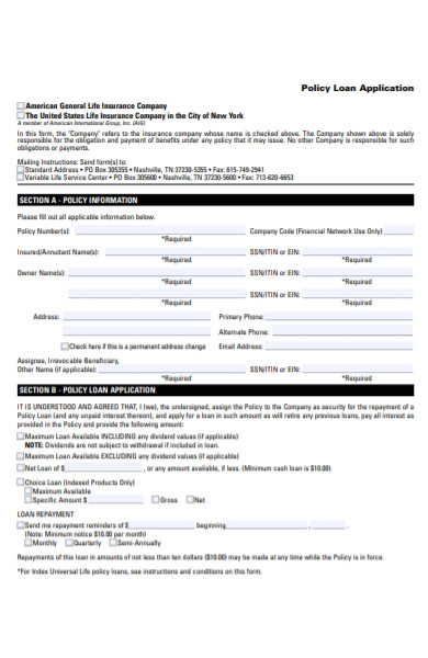 policy loan application form