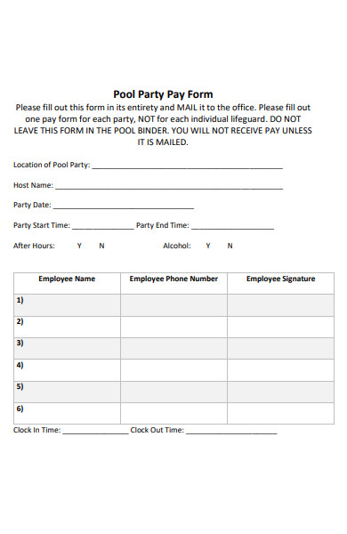 pool party pay form