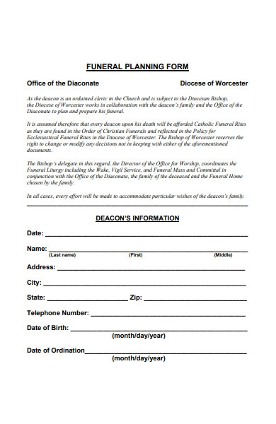 printable funeral form