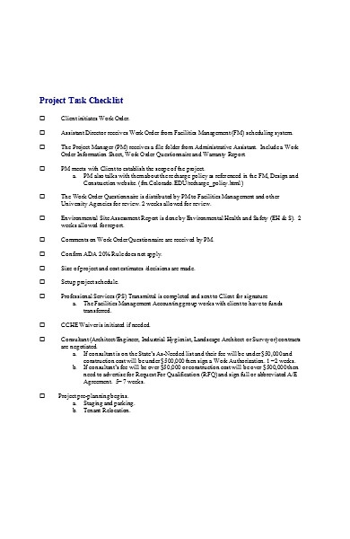 project construction checklist form