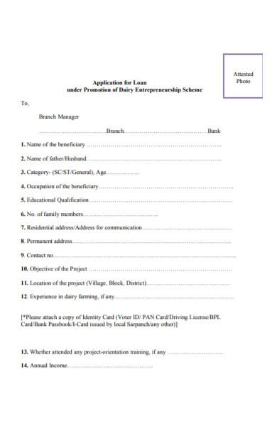 promotion of dairy entrepreneurship loan form