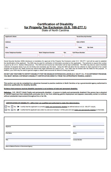 property disability form