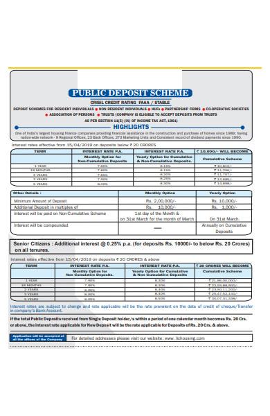public deposit form