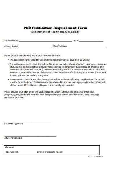 publication requirement form