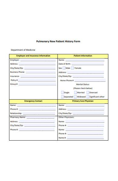 pulmonary new patient history form
