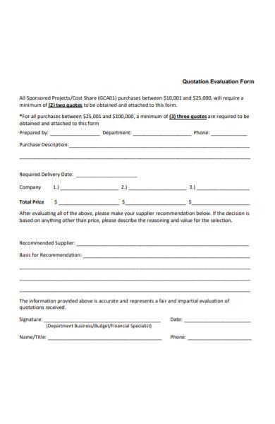 quotation evaluation form
