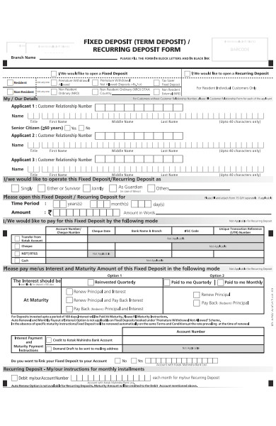 recurring deposit form