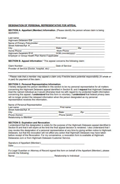representative appeal form