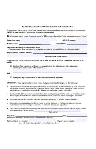 representative claims form