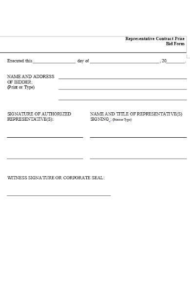 representative contract price bid form