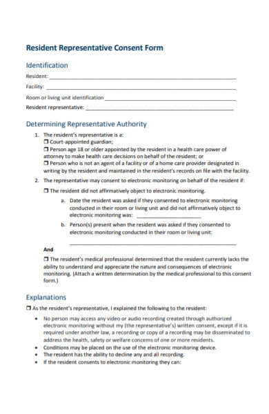 resident representative consent form