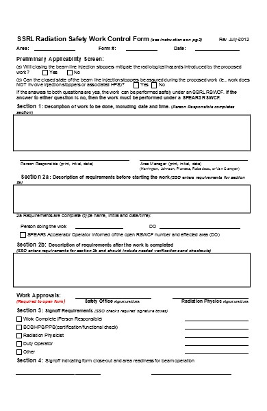 safety work control form