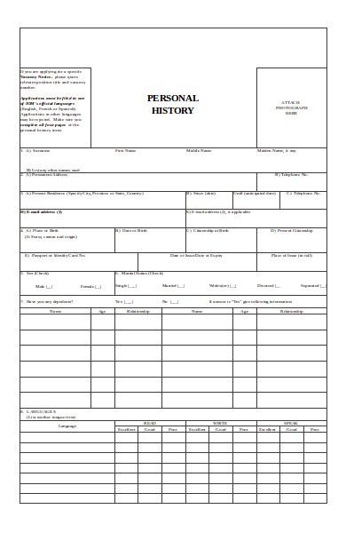 sample history form