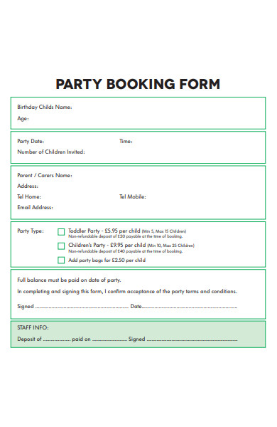 sample party booking form