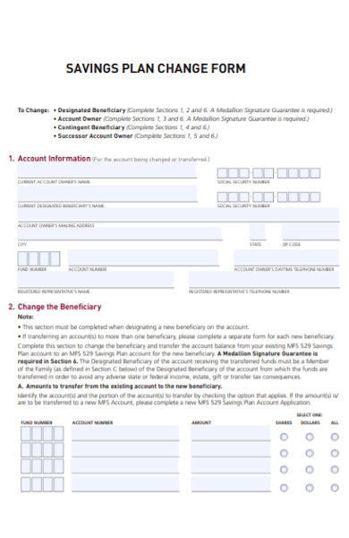 savings plan change form