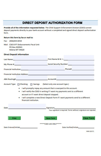 simple deposit form