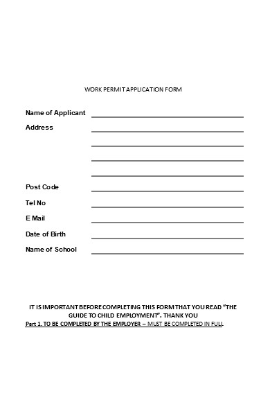 simple work permit application form